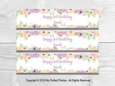6 Purple Floral Birthday Party Personalised Fruit Shoot Bottle Wrappers
