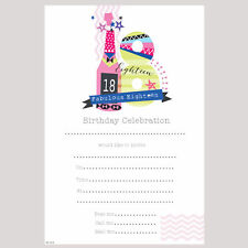 18th Birthday Party Invitations - Fabulous 18 - Female - 20 Sheets & Envelopes