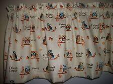 Owls Woodsy Kitchen Nursery harvest fabric window curtain topper Valance