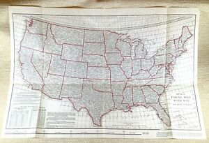 1916 Antique Railroad Map United States Parcel Post Office Rate American Freight