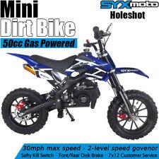 Syxmoto Holeshot Mini Dirt Bike Gas Power 2-Stroke 49cc Motorcycle Beginner Blue