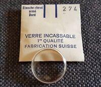 Verre de montre suisse armé bagué plexi diamètre 274 Watch crystal vintage NOS