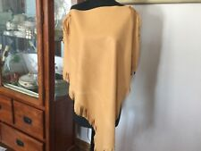 Vintage Tan Hand Made Leather Poncho Fringe 60s 70s Boho Hippie Brown Brads