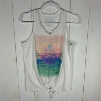 Lucky Brand Womens Multi Color Size Small Knotted Scoop Neck Summer Tank Top
