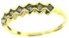 9Carat 9ct yellow gold 7 seven-stone diamond rings half eternity size K 1/2
