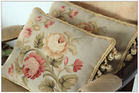 A PAIR Aubusson Pillow BLUE PINK Shabby French Chic Bed Chair Sofa Cushion 16X12