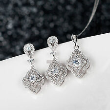 18k gold plated made with SWAROVSKI crystal pendant earrings necklace set