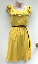DANGERFIELD Fun Yellow Boho Gypsy Cotton Dress Embroidered Neck Ruffle sz 6