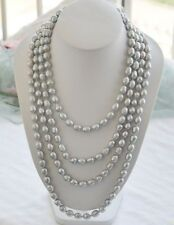 """LONG 100"""" 8-9mm NATURE silver gray rice freshwater pearl necklace"""