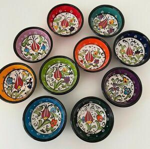 6x Handmade Turkish Ceramic Bowl Set, Floral Patterned Bowls, Small Serving Bowl