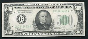 FR. 2202-G 1934-A $500 FIVE HUNDRED DOLLARS FRN CHICAGO, IL ABOUT UNCIRCULATED+