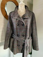 M&S Autograph Weekend Wool Blend Belted Check Winter Coat  UK Size 18