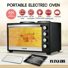60L Portable Electric Convection Benchtop Oven Toaster Rotisserie w/2 Hotplates