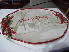 """FITZ AND FLOYD NIGHT BEFORE CHRISTMAS 17"""" COOKIE PLATTER HAND CRAFTED & PAINTED"""