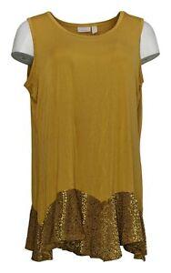 LOGO by Lori Goldstein Women's Top Sz XL Tank Burnout Velvet Hem Yellow A386797