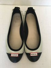 HUNTER Women's Curzon Ballet Flats Black/Beige - Waterproof - Sz Eu35/36 UK3 US5