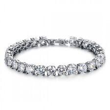 18K White Gold GP Made With Swarovski Crystal Elements Charm Bangle Bracelet