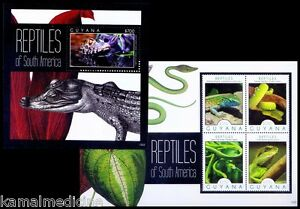 Reptiles, Green Vine Snake, Emerald Tree Boa, Iguna Guyana 2012 MNH 2 SS Set