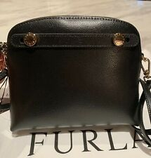 FURLA BLACK ONYX MINI PIPER Italian Leather Crossbody Bag Gold Tone Hardware