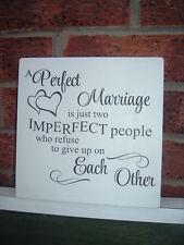 SHABBY Chic VINTAGE un perfetto matrimonio è solo due persone imperfetta Sign Targa