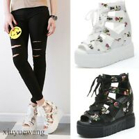 Womens Open Toe Lace up Hollow Out High Wedge Heel Platform Roman Sandals Shoes