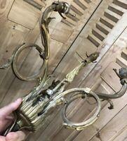 Lustre Bronze XIXeme Rocaille Napoléon III Suspension Lampe Tulipe