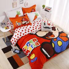 Super Mario Bedding Set Duvet Cover Flat Sheet Pillowcases Queen 4pcs 100%Cotton