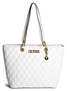 NEW GUESS Paladino Womens Handbag Tote Carryall Shoulder Bag Off White Large