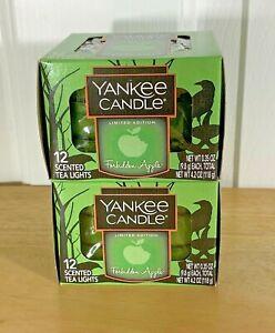 X2 Boxes  Yankee Candle FORBIDDEN APPLE  24 Tea Lights Tealights NEW