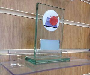 Glass Table Tennis Trophy award. Free Engraving