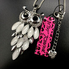 Betsey Johnson Crystal Silver Opal Cute Owl Pendant Necklace Sweater Chain
