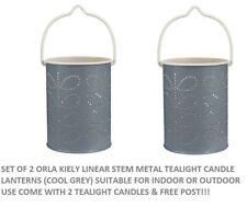 2 X Orla Kiely Candle Holder Tealight Metal Lantern Linear Stem Grey & Candle