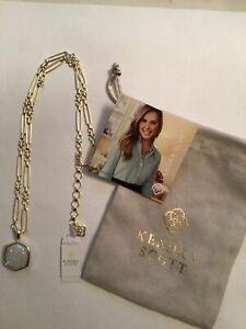 Kendra Scott Davis Short Pendant Necklace in Gold Iridescent Drusy