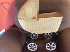 Antique Baby Doll Stroller Vintage Wicker-Woven Carriage Buggy