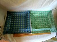 Set of 2 Fused Art Glass Decorator Plate Blue and Green Basket Weave Pattern