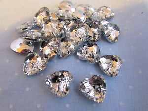 13mm Silver Backed Crystal Rhinestone Heart Shaped Buttons Packs 5, 10 or 20