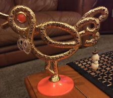 Vintage Gold Tone Bird Metal Earring Holder