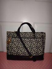 TOMMY HILFIGER Women Signature Shopper Bag Purse Beige Black Canvas Leather Gold