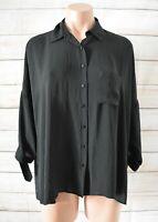 Zara Basic Button Front Shirt Blouse Size Small Black Three-quarter Sleeves