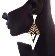 FAB triángulo blanco esmalte y oro tono cuelgan pendientes Estilo Monocromo