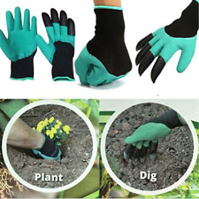 1pair 4abs Plastic Claw Gardening Gloves for Digging &planting With Garden Glove