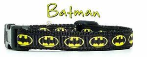 "Batman cat or small dog collar 1/2""wide adjustable handmade collar bell or leash"