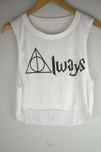 Women Girl's Crop Dancing Shirt Top Harry Potter Deathly Hallows Burgundy Black