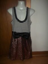 womans unusal style striped/sequined dress from miss selfridge size 10 in v g co