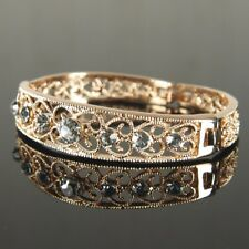 Prom Rose Gold Filled made with Swarovski Crystal Bangle Bracelet  Xmas b205RG