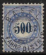 Svizzera 1882 spese di spedizione a causa di carta di granito 500c SG D120A usato (cat £ 300)
