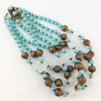 Short Blue Glass Bead Necklace - Statement Maximalist Jewelry by GM