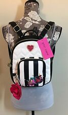 BETSEY JOHNSON Quilted Black White Stripe Backpack Multi w/Rose Charm NWT $88.