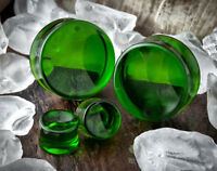"""PAIR GREEN AGATE GLASS SADDLE ORGANIC EAR PLUGS GAUGES TUNNELS 2G 00G 7/16"""" 1/2"""""""
