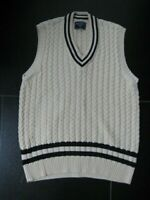 100% COTTON CABLE CHARLES TYRWHITT CRICKET CREAM V NECK JUMPER TANK TOP LARGE